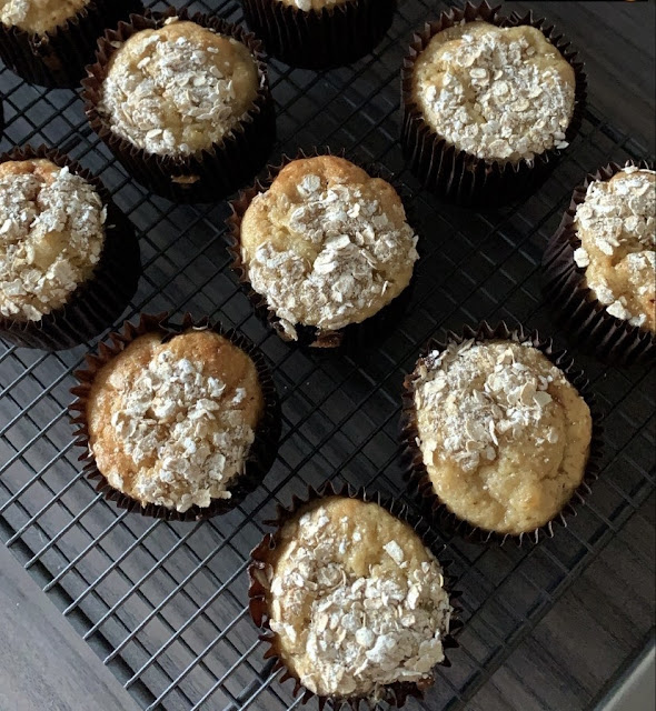 Banana muffins on a wire rack