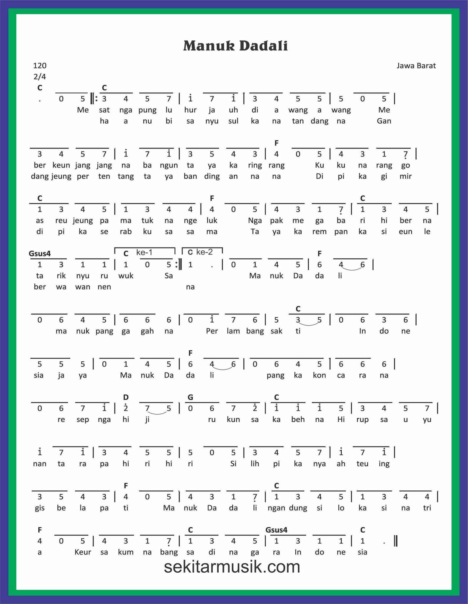 Not Angka Manuk Dadali - Not angka lagu Terbaru
