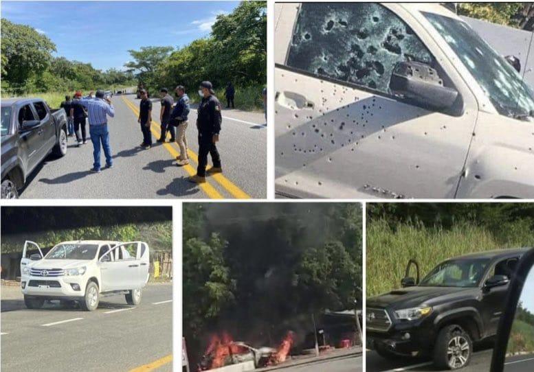 También pelean Chiapas, CJNG y CDS se enfrentan y recogen a sus muertos, 6 camionetas fueron abandonadas, baleadas y quemadas