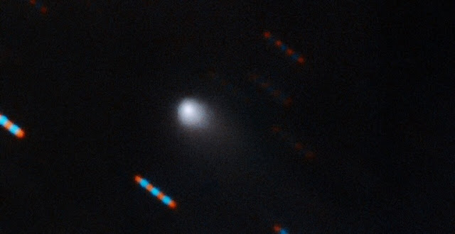 The first-ever comet from beyond our Solar System, as imaged by the Gemini Observatory. The image of the newly discovered object, named  2I/Borisov, was obtained on the night of 9–10 September 2019 using the Gemini Multi-Object Spectrograph on the Gemini North Telescope on Hawaii's Mauna Kea.  Credit:  Gemini Observatory/NSF/AURA