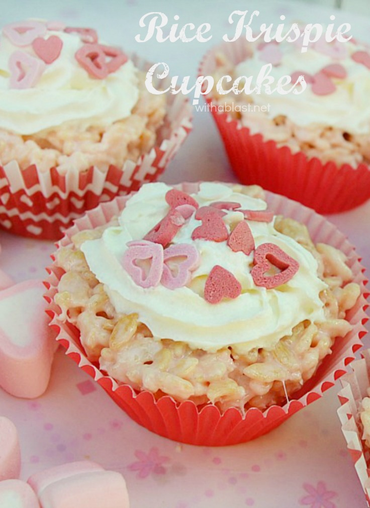 Rice Krispie Cupcakes (Valentines Day) ~ Perfect little treats with surprise Jellies added, which add a burst of flavor to otherwise plain Krispie Treats ~ Valentines Day treat everyone will love !