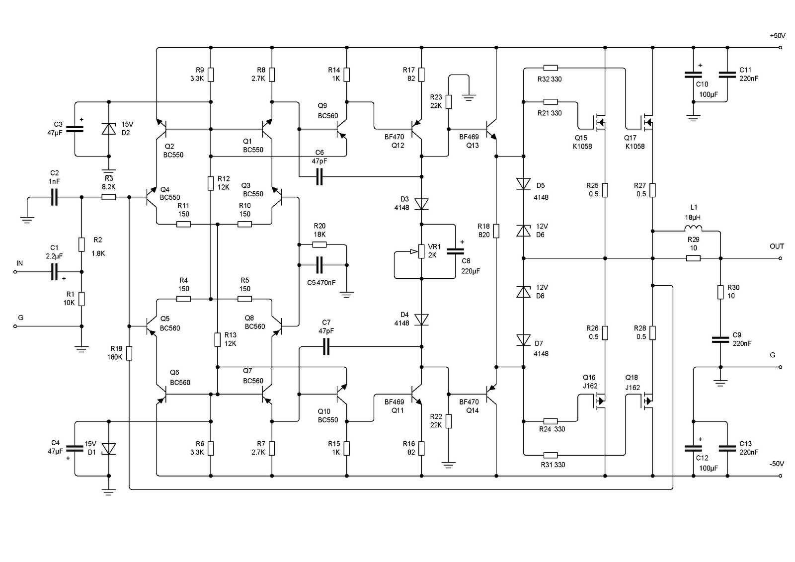Secret Diagram 200w K1058 J162 Mosfet Class A Audio Amplifier Circuit Switch With Delay Timer Electronic Projects Welcome To Free Dot Com We Want As Amp Is Currently Composed Of Two Completely