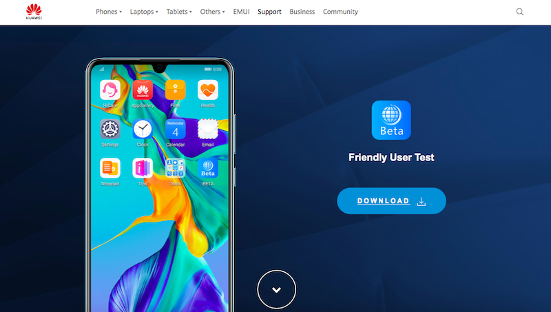 Home page for EMUI 10 trial update download