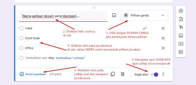 Membuat soal ujian di google form