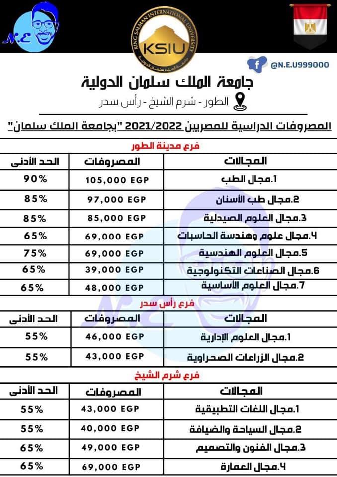 مصاريف جامعة الملك سلمان