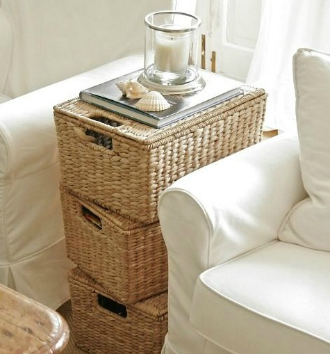 Lidded Wicker Baskets Can be Used as Side Tables