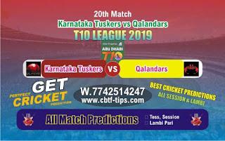 Who will win Today T10 League 2019, 20th Match Qalandars vs Karnatka, 100% Sure Prediction