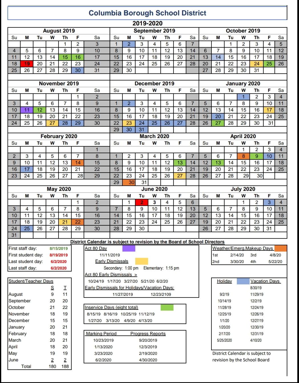 Columbia Calendar Fall 2020 COLUMBIA SPY: 2019 2020 Columbia School calendar is available