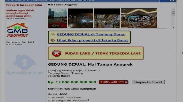 Viral Iklan Mal Taman Anggrek Dijual, Dibanderol Rp17 triliun