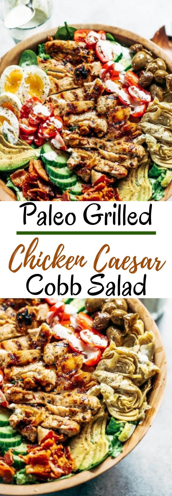 Paleo Grilled Chicken Caesar Cobb Salad #healthy #salad