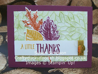 Stampin' Up! Susan Simpson UK Independent Stampin' Up! Demonstrator, Craftyduckydoodah!, Vintage Leaves, Perfectly Wrapped, Petal Burst TIEF, Supplies available 24/7,