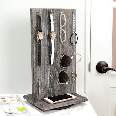 Wooden Rotating Two-Sided Jewelry Display Stand from Nile Corp
