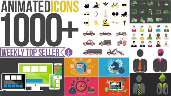 قالب افتر افكت مجاني - اكثر من 1000 ايقونة متحركة لتصاميم الموشن جرافيك للافتر افكت CS4 فأعلى