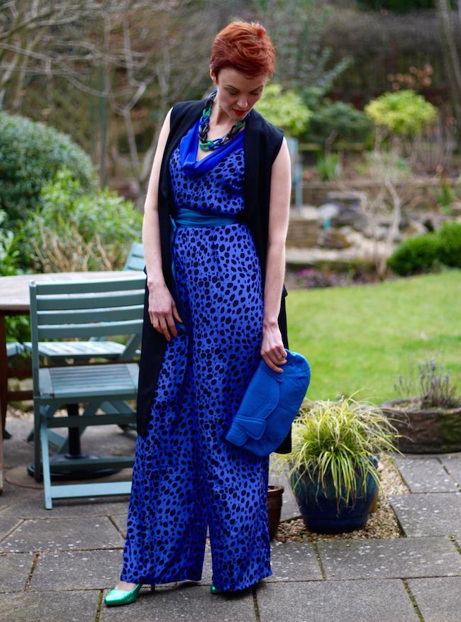 Blue jumpsuit | Tuxedo waistcoat