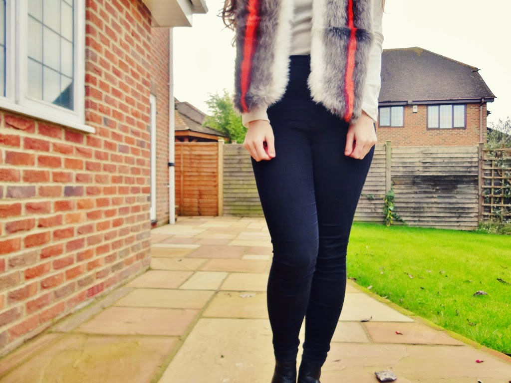 faux fur red stripe asos