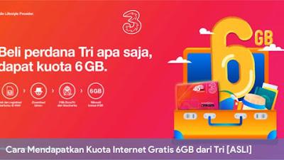 Cara Mendapatkan Kuota Internet Gratis 6GB dari Tri [ASLI]