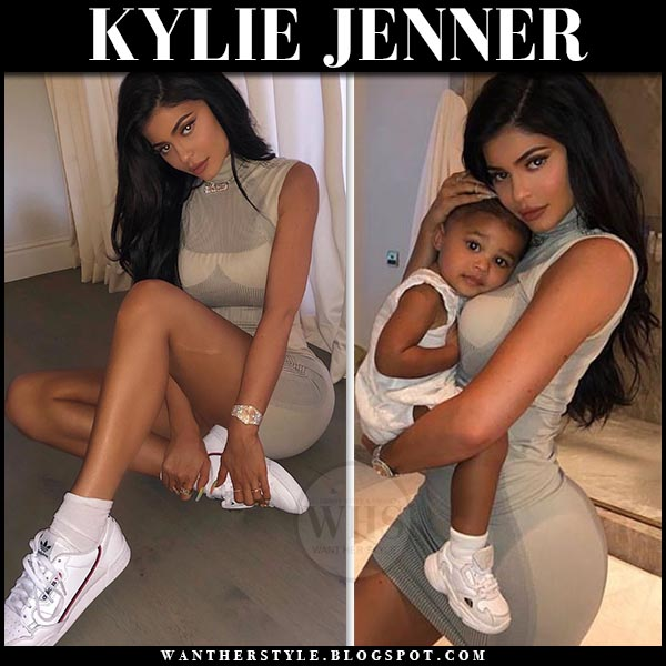 Kylie Jenner in grey sleeveless MISBHV mini dress and white Adidas sneakers on june 13