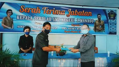 Saat Pandemi, SMP Negeri 1 Kota Manado Gelar Sertijab Kepala Sekolah