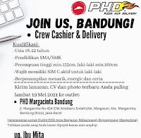 Lowongan Crew Cashier / Delivery Pizza Hut Delivery (PHD) Bandung