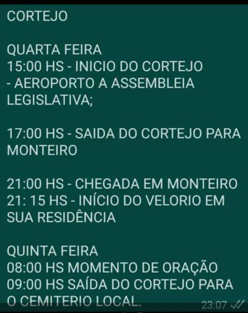 Divulgada Programação completa dos velórios e sepultamento do deputado estadual João Henrique. Deputado será sepultado na quinta feira em Monteiro
