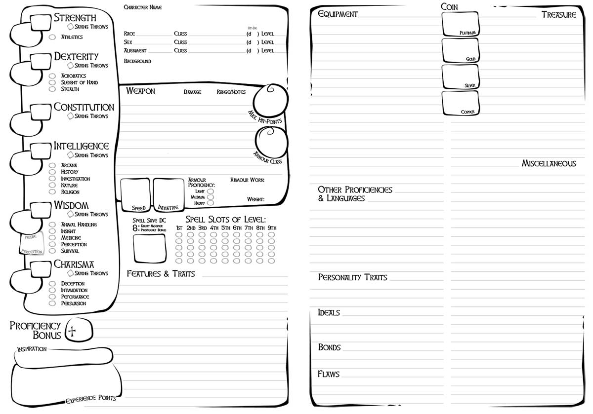 Shouting Into The Void D Amp D5e Character Sheet