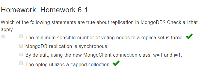 mongodb dba homework 6.1 answer