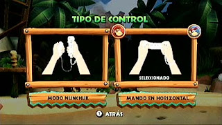 Captura de Wii. DK Country Return, elige control: con Nunchuck u horizontal