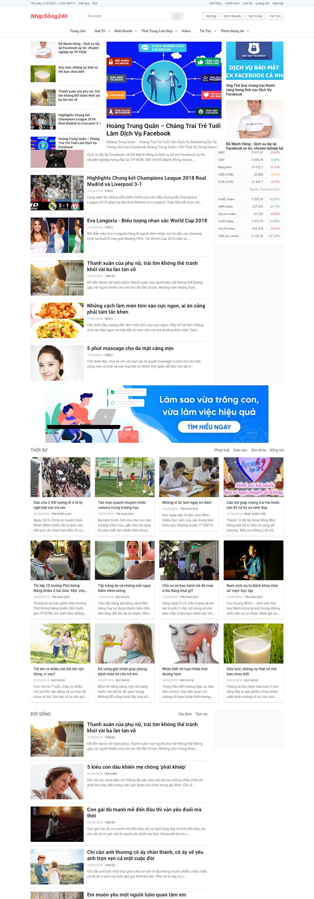 Template blogspot tin tức giống Zing News