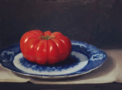 ripe tomato, flow blue plate
