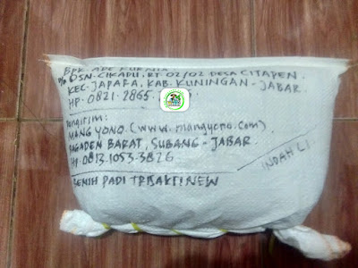 Benih padi yang dibeli  ADE KURNIA Kuningan, Jabar. (Setelah packing karung ).