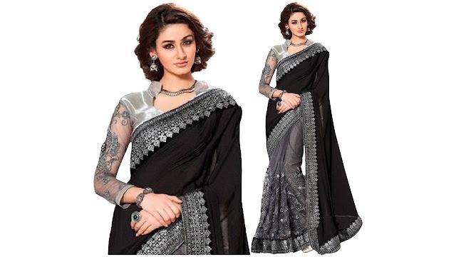 B BELLA CREATION Embroidered Fashion Lycra, Net Saree  (Black, Silver)