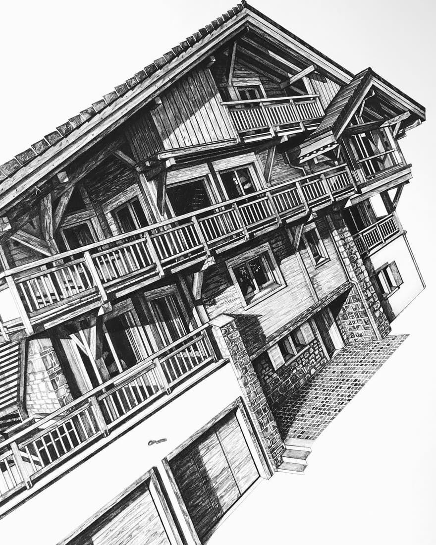 07-French-Ski-Chalet-Minty-Sainsbury-Traditional-Architecture-Drawings-in-Pencil-www-designstack-co