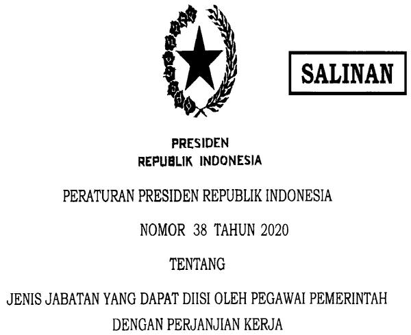 Perpres Nomor 38 Tahun 2020 Jabatan Yang Dapat Diisi Pegawai PPPK