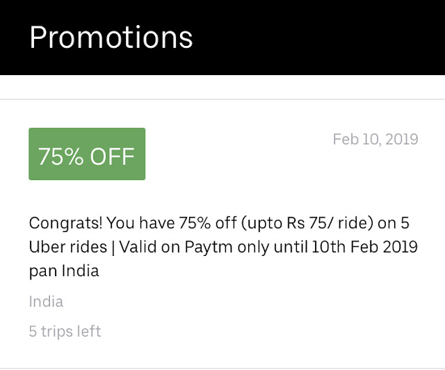 Uber Discount up to 75% max Rs 75 via Paytm