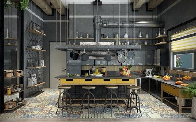 تصميم مطبخ منزلي بنظام مطابخ المطاعم موديل 2020