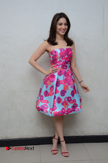 Actress Tamanna Latest Images in Floral Short Dress at Okkadochadu Movie Promotions  0168.JPG