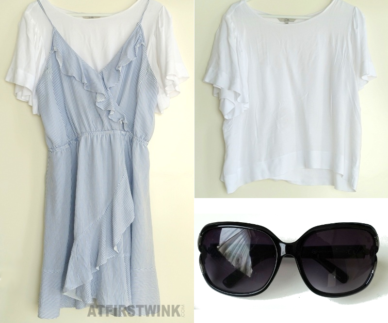 C&A summer budget outfit sunglasses white t-shirt blue white striped wrap dress
