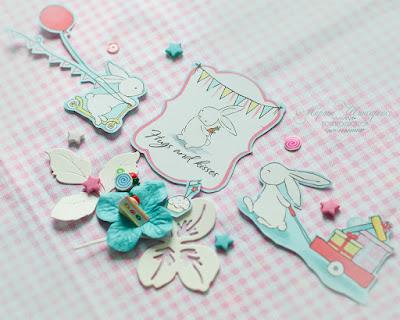 скрап альбом высечки вырезалки декор бумага зайцы кролики вечеринка детское