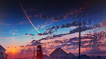 Sunset, Anime, Clouds, Sky, Scenery, 4K, #6.2611