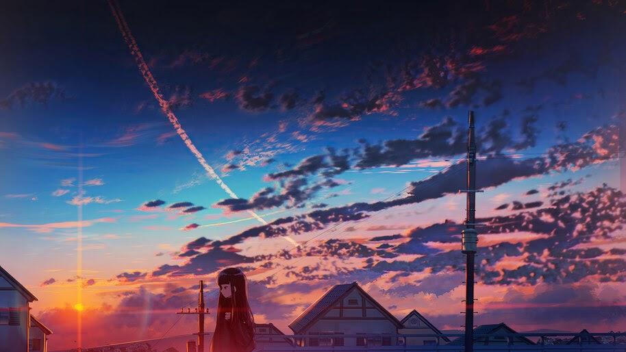 Sunset, Anime, Clouds, Sky, Scenery, 4K, #6.2611 Wallpaper
