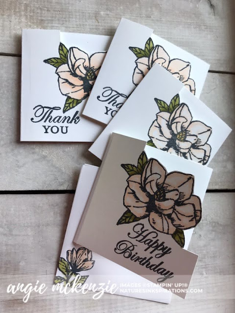 Mini Magnolia Blooms for Kylie's Demonstrator Training Blog Hop - July 2019 | 3x3 Magnolia Bloom cards | Nature's INKspirations by Angie McKenzie