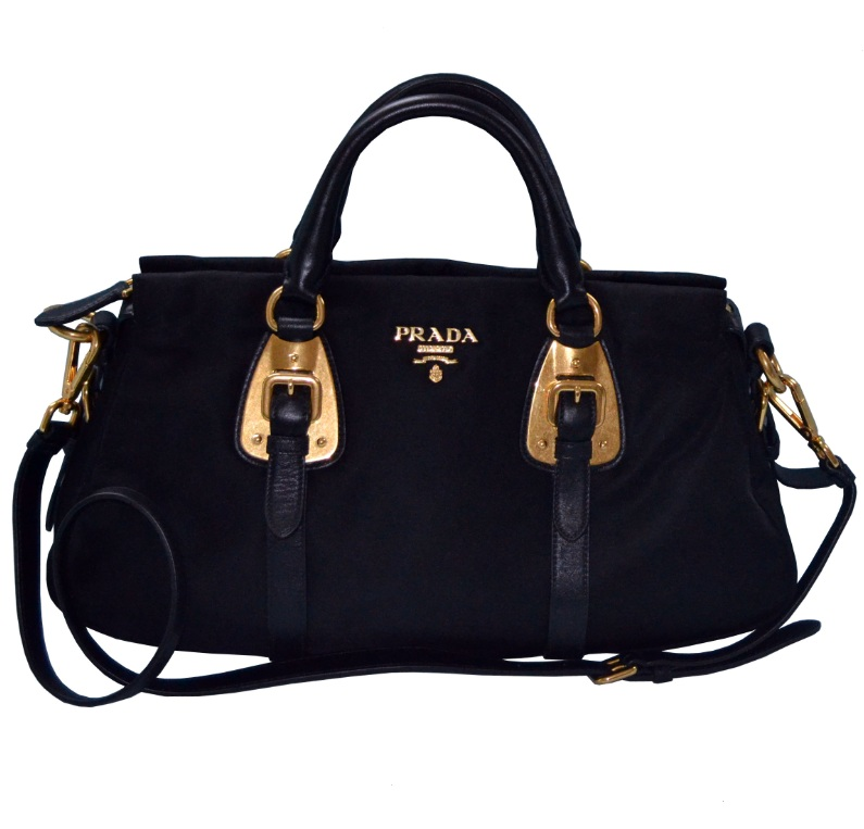 290e8d58f212 PRADA BN1903 Bauletto Soft Calf Top Handle Bag Nero Product Description: a)  Double Handle b) Detachable Shoulder Strap c) Material: Soft Calf leather