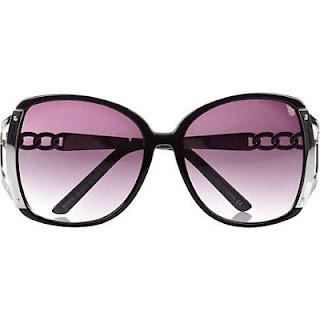 River Island Black Oversized Chain Detail Sunglasses