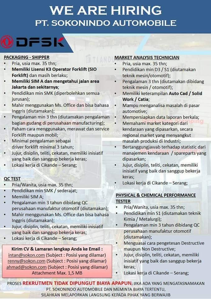 Lowongan Kerja Agustus PT Sokonindo automobile Serang, banten Terbaru 2019