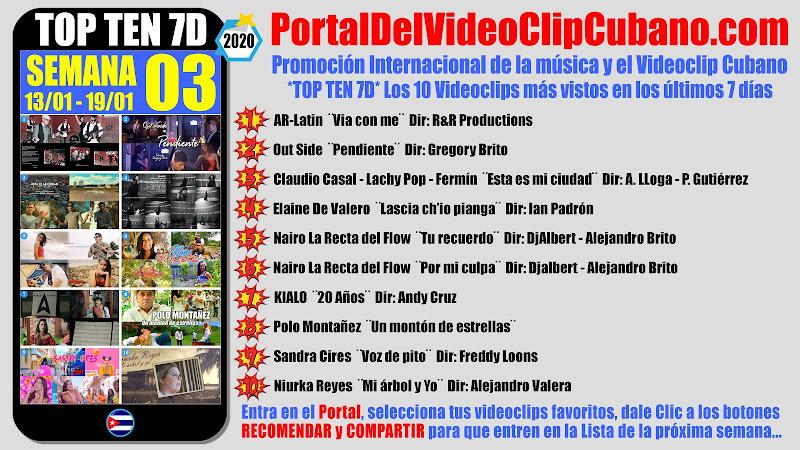 Artistas ganadores del * TOP TEN 7D * con los 10 Videoclips más vistos en la semana 03 (13/01 a 19/01 de 2020) en el Portal Del Vídeo Clip Cubano