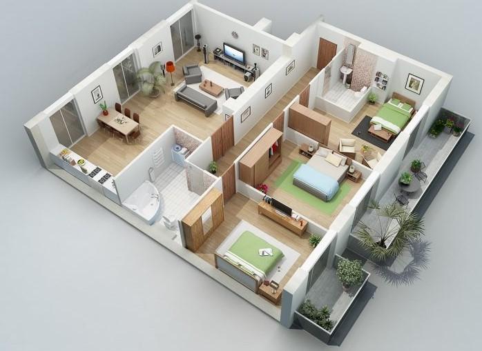 rumah 3 kamar tipe berapa