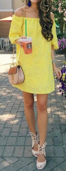 summer outfit idea: bag + yellow dress + heels
