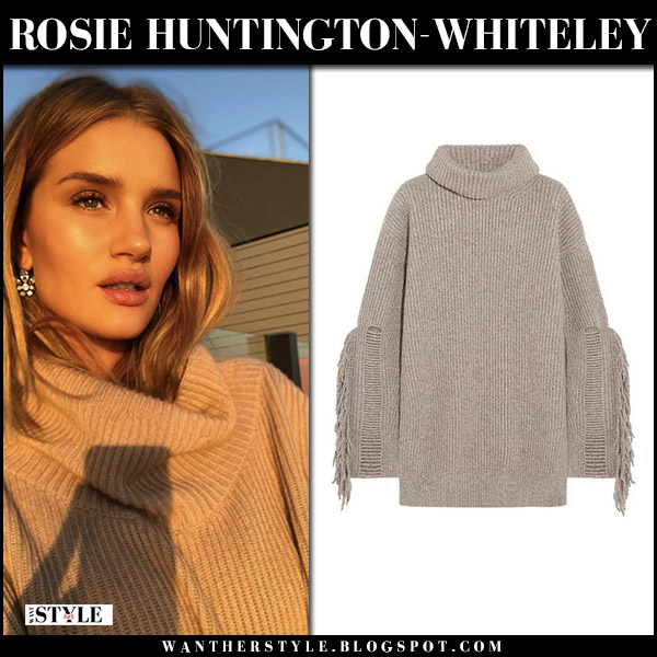 Rosie Huntington-Whiteley in beige knit turtleneck sweater stella mccartney model winter fashion november 29