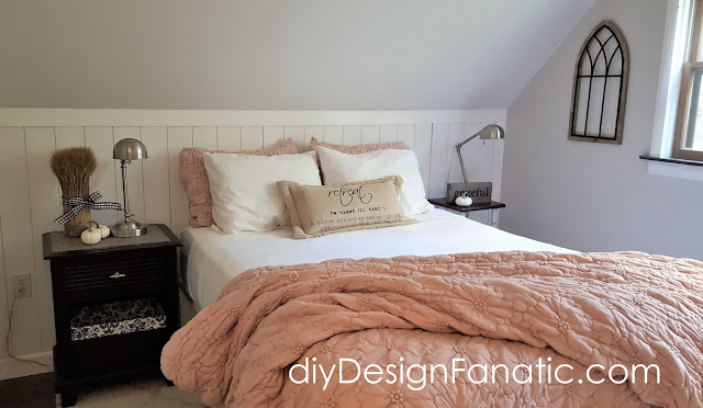 cottage bedroom, vertical shiplap, shiplap, faux wall, mountain cottage, diy