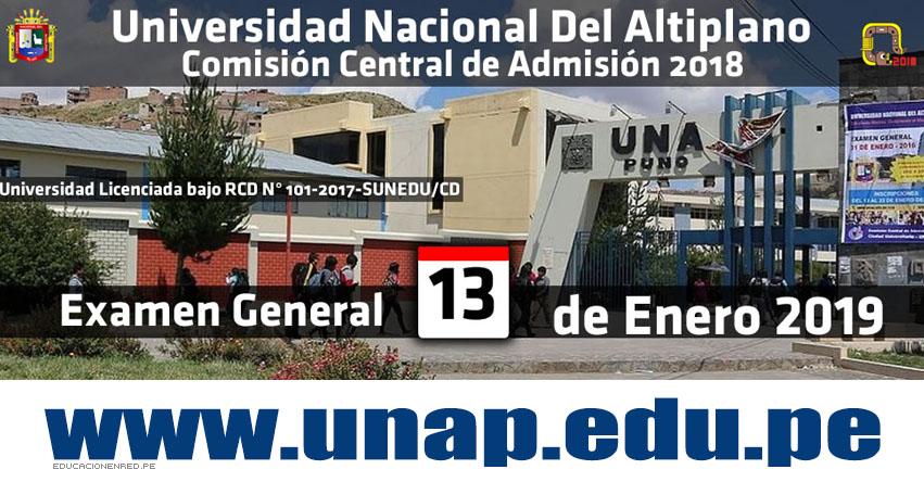 Resultados UNA Puno 2019 (13 Enero) Lista Ingresantes - Examen General - Universidad Nacional del Altiplano UNAP - www.unap.edu.pe